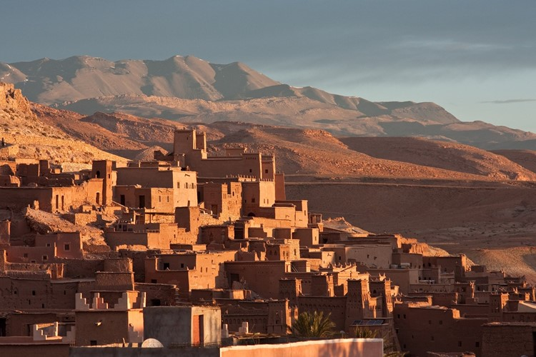 Village on the side of the Atlas mountains in Morocco